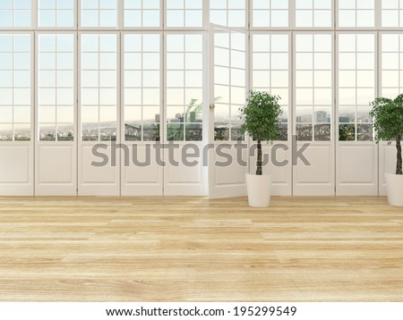 Living room interior with a panoramic view window with cottage pane glass and a door opening onto a balcony with wooden parquet floor and two ornamental topiary houseplants - stock photo