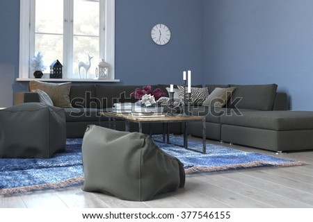 Living Room Interior with Blue Walls, White Accents and Wood Floor - Tastefully Decorated Sitting Room with Comfortable Sofa, Woven Rug and Sunny Window. 3d Rendering. - stock photo