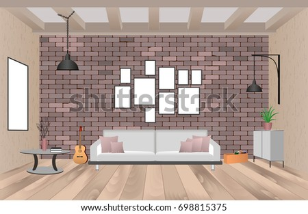 Living Room Interior With Furniture In Hipster Style With Empty Frames,  Sofa, Lamps,