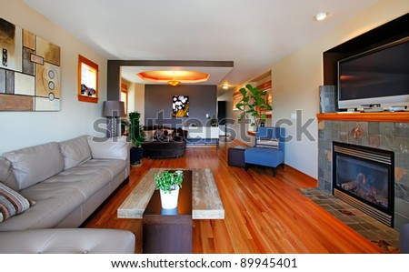 Living room interior with modern furniture. - stock photo