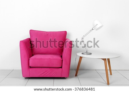 Living Room Interior Pink Armchair White Stock Photo 376836481 ...
