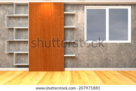 Living Room Interior with Shelves decorate Wooden floor - stock photo