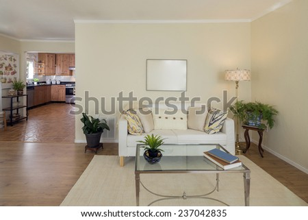 Living room interior with white couch adjacent to kitchen - stock photo