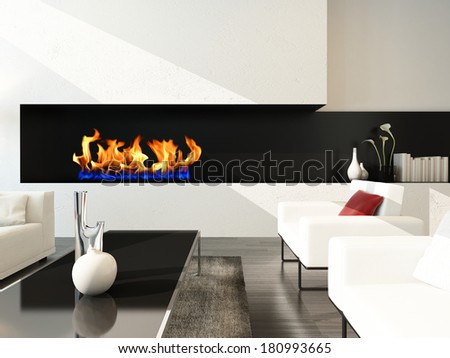 Living room interior with white couch and fireplace - stock photo