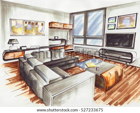 living room it is very modern interior design for younger familie its sketch designed with - Interior Design Sketches