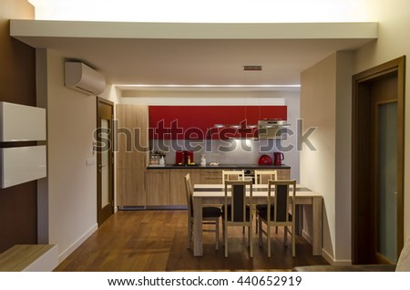 Living Room Kitchen Site And Dining Table With Modern LED Lighting In Sofia