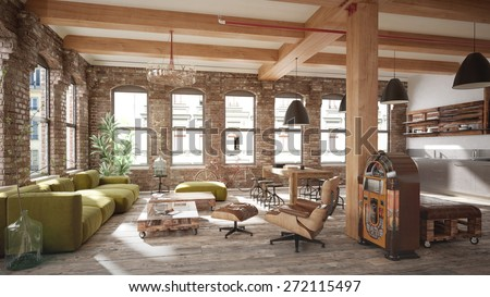 Living Room Loft In Rustic Style