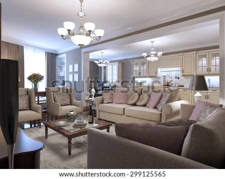 Living room mediterranean style. A cozy place to spend time in the circle of friends. Soft sofas, armchairs. Wooden small table in the center, and beige tones anywhere. 3D render - stock photo