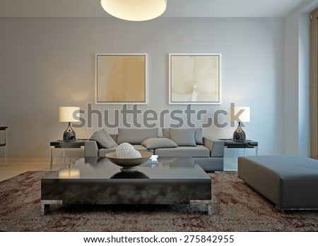 Living room minimalism style. 3d render - stock photo