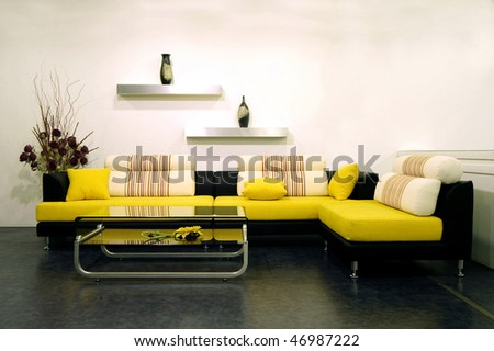 Living room modern home - stock photo
