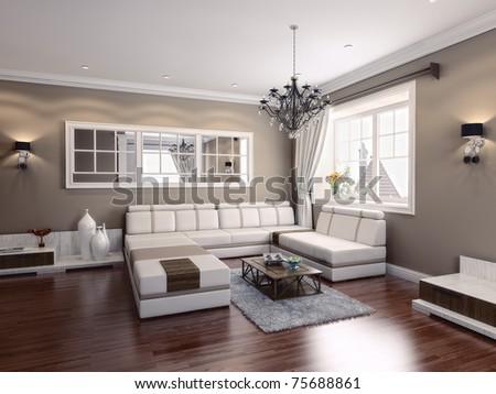 living-room modern interior (3D rendering) - stock photo