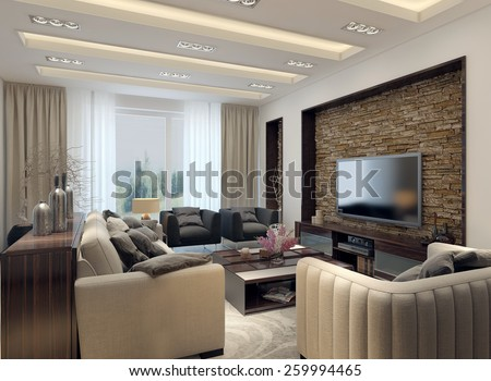 Living Room Modern Style 3D Images