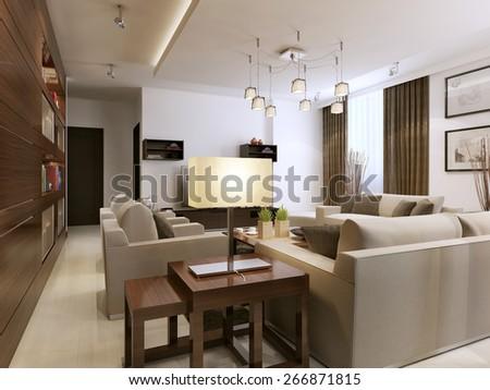 Living room modern style, 3d render - stock photo