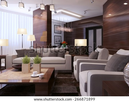 Living room modern style, 3d render - stock photo