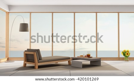 Living room of a holiday villa with sea views - 3d rendering - stock photo