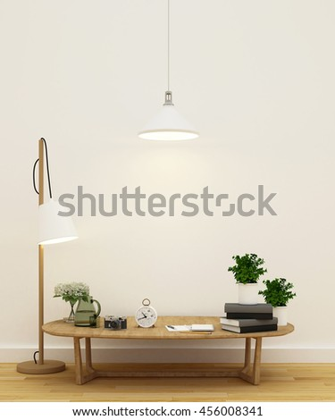 living room or library area - 3D Rendering - stock photo