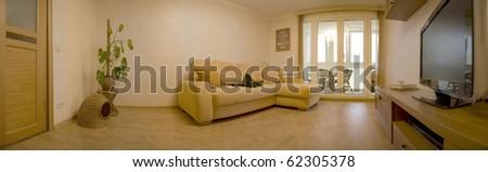 Living room. Panoramic view - stock photo
