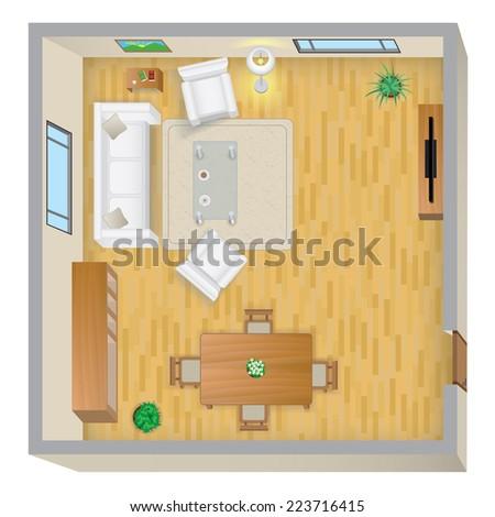 Living Room Plan - stock photo