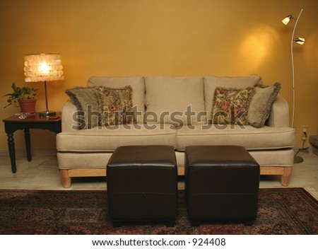 Living Room Scene with Lights
