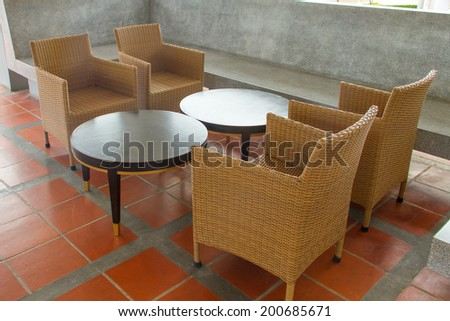 Living room set made �¢??�¢??from wicker - stock photo