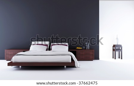 Living Room Setting - bed to face a blank wall - stock photo