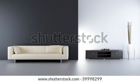 Living room setting - white Couch to face a blank wall - stock photo