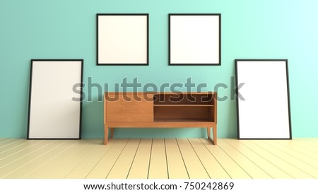 Living room shown picture frame and wooden cabinet on empty blue wall background. 3D rendering