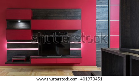 Living room wall with tv and shelves