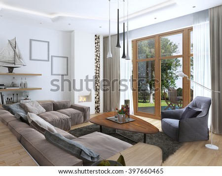 Living room with a large corner sofa from a fabric in a Contemporary style. Design spiral staircase leading to the second floor. armchair with a modern torchere and a low table with decor. 3D render