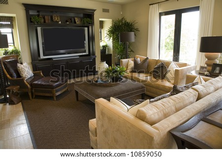 Living room with an HDTV and stylish decor. - stock photo