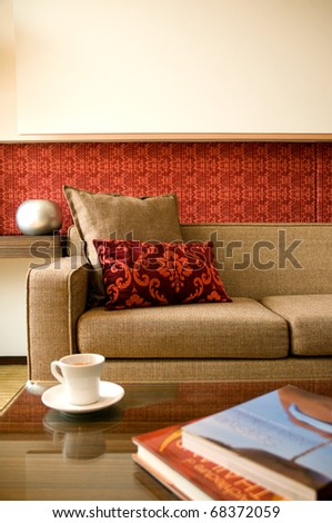 living room with beautiful interior design - stock photo