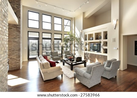 Living room with big picture windows - stock photo