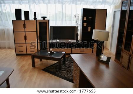 living room with big window - stock photo