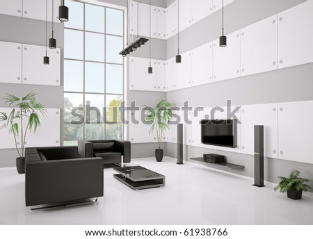 Living room with black sofa, armchair and lcd interior 3d render - stock photo