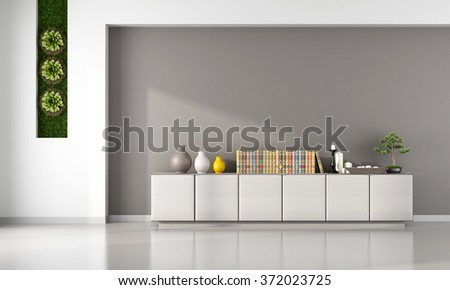 Living room with cabinet and vertical garden  - 3D Rendering - stock photo