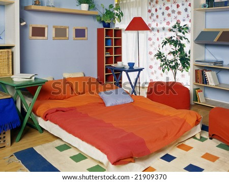 living room with can be bedroom for guest - stock photo