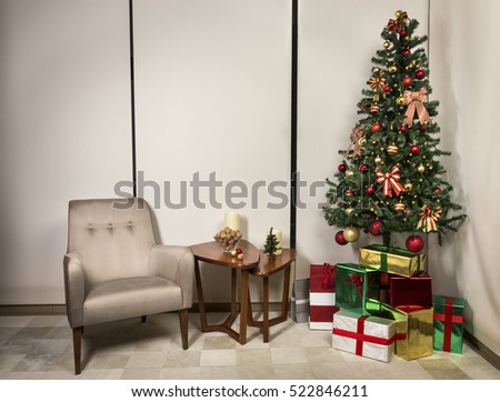 Living room with christmas decoration.
