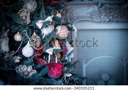 living room with Christmas Tree. blue tone - stock photo