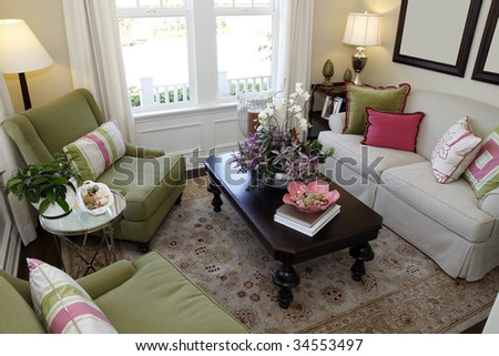 Living room with contemporary decor. - stock photo