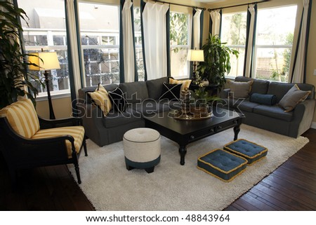 Living room with contemporary furniture and decor. - stock photo