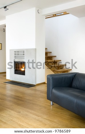 living room with fireplace - stock photo