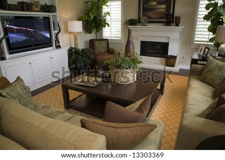 Living room with HDTV, fireplace and stylish decor. - stock photo