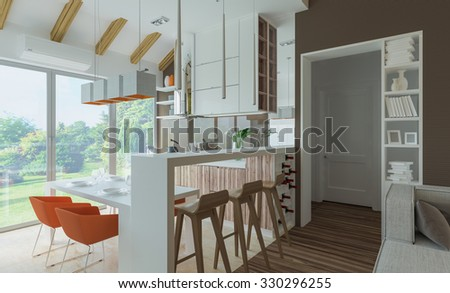 living room with kitchen and dining room. 3D illustration