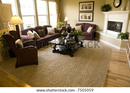 Living room with modern decor and warm light. - stock photo