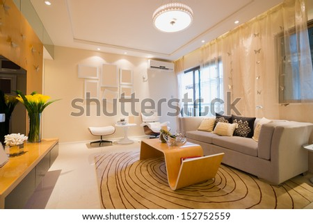 living room with modern style - stock photo