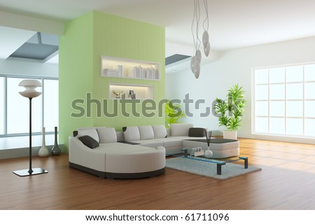 living room with modern style.3d render - stock photo