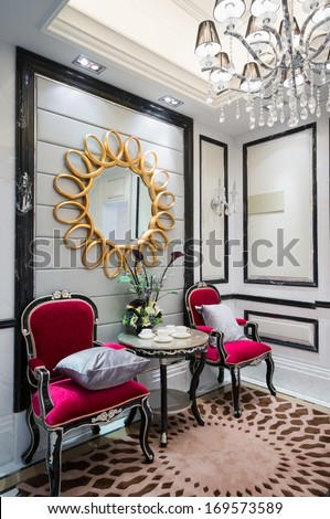 living room with nice decoration - stock photo