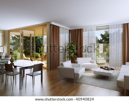 Living room with overlooking the garden - stock photo