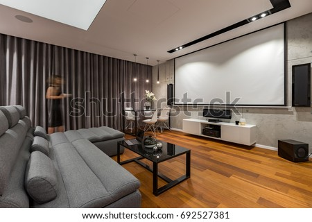 Living Room Projector Screen Gray Couch Stock Photo 692527381 ...