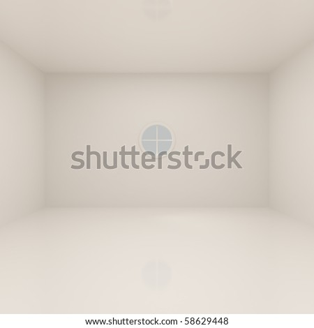 Living Room With Round Window - 3d illustration - stock photo